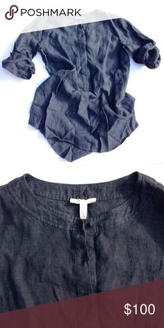 🆕EILEEN FISHER linen shirt Classic, soft, 100% linen, perfect condition, pit to pit appx 22 inches, length appx 29, sleeve appx 23.  Thank you for visiting my closet. I usually ship the next day. Please feel free to ask me any questions. I am here to help. :) Bundle to save. Eileen Fisher Tops