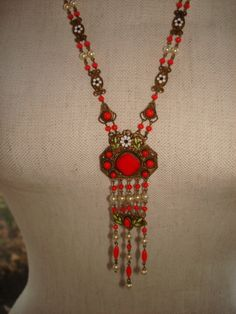 Vintage Art Deco Czech Red Glass Enamel Flapper Sautoir Necklace Czechoslovakia | eBay