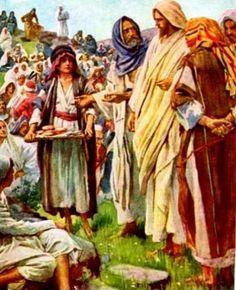 Jesús multiplica los panes y los peces. Luego comen multitudes.