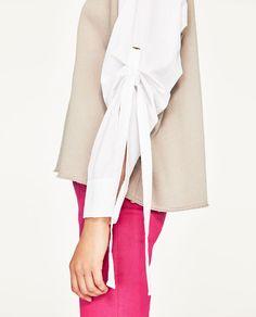 Image 3 of OVERSIZED LONG SWEATSHIRT WITH POPLIN SLEEVES from Zara