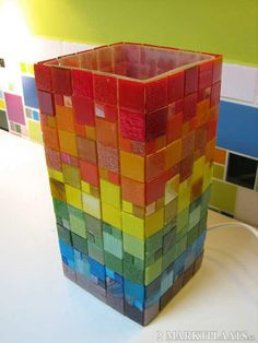 Ikea lamp with glass mosaic, could also make it into a minecraft/tetris design for fun :)