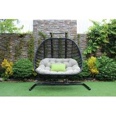 Bayou Breeze Greenburgh Outdoor Swing Chair I'm adding this to the list for the new house. can't wait till I'm cozied up with my hubbie on here looking at the stars in our backyard Wicker Porch Swing, Porch Swing With Stand, Egg Swing Chair, Swinging Chair, Swing Chairs, Hanging Chairs, Indoor Swing, Hammock Swing, Hammock Chair