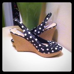 Black/ White Polka Dot Espadrilles Super cute! Black and white polka dot espadrilles. American Eagle Outfitters Shoes
