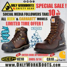 SPECIAL SALE!!! For Our SOCIAL MEDIA Followers take 10% Off KEEN & CARHARTT Models! LIMITED TIME OFFER ENDS 9/14/15! To Take Advantage Of This Offer Visit Our Online Store @ WWW.ONLYWORKBOOTS.COM Call Us For More Info (305) 629-9029 Or Come To Our Showroom at 5121 NW 79TH AVE Unit 11 Doral, Fl 33166 — ENTER DISCOUNT CODE AT CHECKOUT OFERTA ESPECIAL! Para Nuestros Seguidores de las REDES SOCIALES un 10% De Descuento En Los Modelos De KEEN & CARHART! OFERTA LIMITADA Termina el 9/14/15. Carhartt, Showroom, Hiking Boots, Social Media, Model, Fashion, Social Networks, Moda
