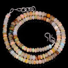 "56CRTS 4.5to5MM 18"" ETHIOPIAN OPAL RONDELLE BEAUTIFUL BEADS NECKLACE OBI1535 #OPALBEADSINDIA"