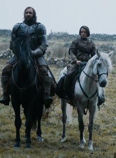 Arya on Craven and the Hound astride Stranger..