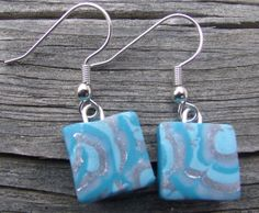 Unique Turquoise and Silver Polymer Clay by clayandbeads4me, $5.00