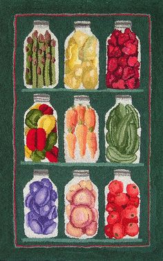 9 Pantry Jars  Original Hooked Rug Pattern by maryellenwolffdesign, $69.95