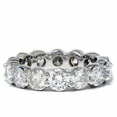5.00CT Prong Diamond Eternity Ring 14K White Gold Pompeii3 Inc.. $4299.00
