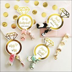 Boho Hair Tie Favor With Gold Personalized Card Set Of 12
