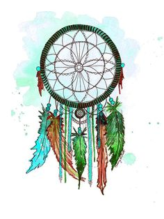 Dream Catcher #6, Print of Original Watercolor Painting - Native American wall art - Office decor and home decor