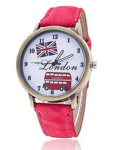 SKLIT Uhren Frau london bus britische Nationalflagge Uhr - http://uhr.haus/sklit-watches/sklit-uhren-frau-london-bus-britische-uhr