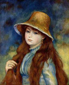 Pierre-Auguste Renoir.  Mädchen mit Strohhut. Um 1884, Öl auf Leinwand, 55 × 47 cm. New York, Sammlung E. C. Vogel. Frankreich. Impressionismus.  KO 01963