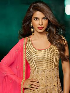 Beige with Pink Priyanka Chopra Anarkali Suit with Embroidery  #AnarkaliSuit #IndianEthnicwear #PunjabiSuit # Anarkali