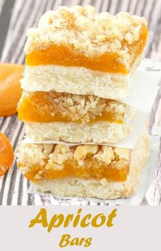 Bars Such delicious bars! Made with dried apricots, on a shortbread ...