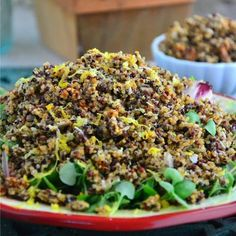 A Healthy Side Dish Recipe: Lemon Pepper Quinoa Salad #glutenfree #healthy #health #quinoa #salad #healthyrecipe #yum #dairyfree #vegan #lunch #dinner #holidays #easydinner