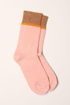 Chaussettes moelleuses rose/doré - Polder