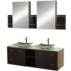 Wyndham Collection Avara 60 In. Double Bathroom Vanity In Espresso, Green  Glass Countertop,