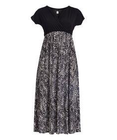 Black & White Paisley Empire-Waist Maxi Dress - Plus | zulily