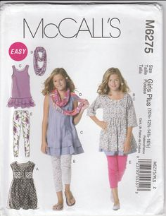 8cf74c25439e Easy Leggings Pattern Dress Tunic Scarf Plus Size 10 1 2 - 16 1 2 Uncut  McCalls 6275