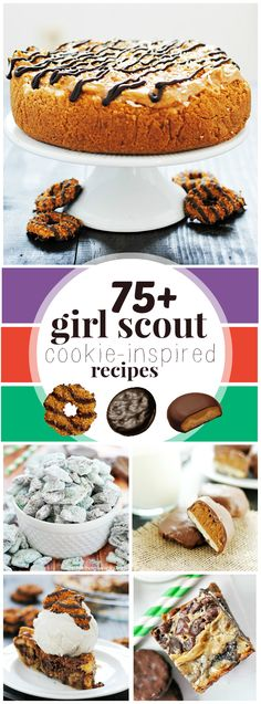 NEW Girl Scout Cookie Dessert recipes including Samoas Macarons, Thin Mint Marshmallow Brownies, and Tagalong Cookie Bars. Cookie Desserts, Just Desserts, Cookie Recipes, Delicious Desserts, Dessert Recipes, Chocolate Desserts, Cookie Bars, Veggie Recipes, Yummy Cookies