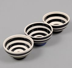 """PETER SHIRE / ECHO PARK: 5"""" Bowl, Black & White Painted Rings"""