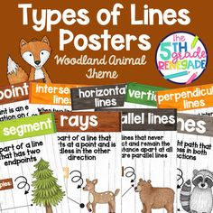 Types of Lines Math Posters with a Woodland Animal Watercolor Theme Line Math, Types Of Lines, Woodland Animals Theme, D Line, Math Poster, Watercolor Animals, Posters, Poster, Postres