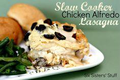 Slow Cooker Chicken Alfredo Lasagna