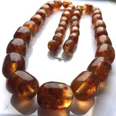 Antique cognac Baltic amber necklace - , 106 grams, modified amber from old times Bead Necklaces, Diy Necklace, Crystals And Gemstones, Stones And Crystals, Baltic Amber Necklace, Bold Jewelry, Amber Stone, Amber Beads, Stone Jewelry