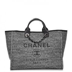 1ee7e87452c Chanel 2018 Top Grey Charcoal Deauville Shopping Tote Dress Bag ...