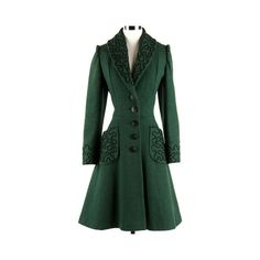 1940s fashion moda style vintage clothes found on Polyvore featuring polyvore, women's fashion, clothing, outerwear, coats, 40s, green, jackets, green coat and vintage coats