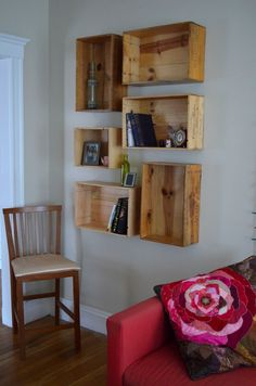 Fruit crates mounted on wall