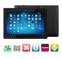 "PiPo M8 Pro 9.4"" IPS HD Screen Android 4.2 Quad Core Rockchip RK3188 1.8GHz Tablet PC with 2GB RAM 16GB ROM Bluetooth Dual Camera HDMI 3G Version (Black) - Android Tablets - Tablet Pc"
