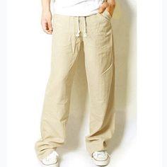 Nouveau mode coréenne hommes lin coupe droite lâche Casual pantalons longs pantalons hommes conçu pantalons masculins dans Casual Pants de Accessoires et vêtements pour hommes sur AliExpress.com | Alibaba Group