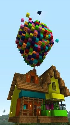 """Disney's """"Up"""" house build in Minecraft. This is the time I've built this house. Total build time was about 2 days this time around. Minecraft Up House Disney Minecraft, Lego Minecraft, Minecraft World, Construction Minecraft, Amazing Minecraft, Minecraft Blueprints, Minecraft Designs, Cool Minecraft Houses, Diy Crafts"""