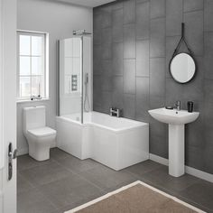 A beautiful modern bathroom can be achieved simply & affordably with our contemporary bathroom suites. Browse the wide range of modern bathroom suites with VP. Modern Bathroom Decor, Bathroom Layout, White Bathroom, Bathroom Interior, Small Bathroom, Master Bathroom, Bathroom Ideas, Bathroom Designs, Shower Ideas
