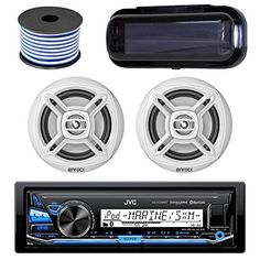 """JVC KD-X33MBS In-Dash Marine Boat Bluetooth Radio USB Receiver Bundle Combo With Pair Of White Enrock EKMR1672W 6.5"""" Dual-Cone Stereo Speakers + Stereo Waterproof Cover + 18g 50FT Marine Speaker Wire"""