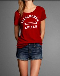 Red Abercrombie and Fitch logo tee