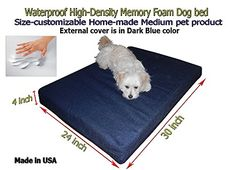 Homemade Waterproof Customizable 30x24x4 Memory Foam Dark Blue Dog Bed -- Click image to review more details.