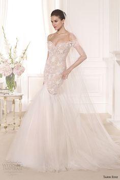 tarik ediz 2014 bridal collection off the shoulder sweetheart mermaid blush wedding dress lataya