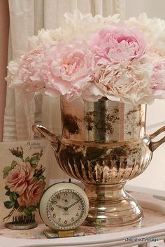 Shabby Ice Bucket & Peonies by cherished*vintage, via Flickr