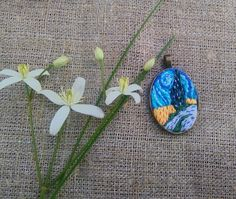 Hand embroidery pendant  miniature of Vincent  van от MoeraeCrafts