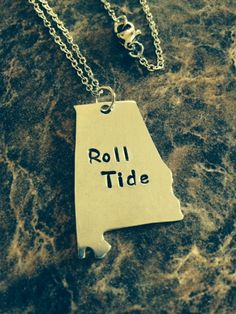 Hand Stamped Roll Tide Alabama Necklace / Great gift / Handmade / Football Season on Etsy, $20.00