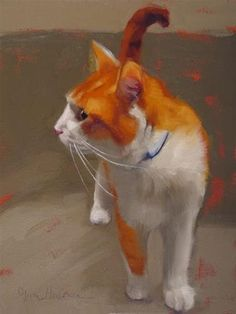 "Daily Paintworks - ""Tangy cat painting by Hoeptner"" by Diane Hoeptner"