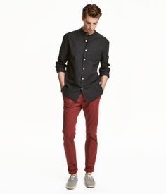 Chinos in washed cotton twill with a regular waist and ultra-slim 3861a60757191