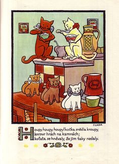 Illustration from Josef Lada's 'Dětem' Quentin Blake, Animal Graphic, Artist Names, Vintage Children, Childhood Memories, The Past, Comics, Cats, Illustration