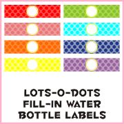 Water bottle printables   http://www.piggybankparties.com/downloads/lotsodots/LotsODotsBottleLabels.pdf