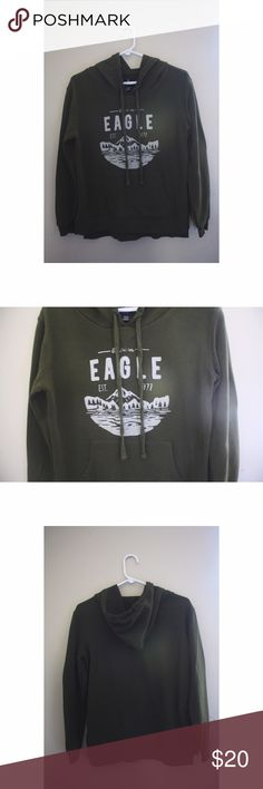 American Eagle Olive Green Graphic Hoodie It's not actually faded, I was just having some weird issues with my camera lens. Has a middle hoodie pocket. 60% cotton, 40% polyester. American Eagle Outfitters Tops Sweatshirts & Hoodies