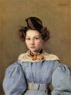 """oldpainting: """" history-of-fashion: """" 1831 Camille Corot - Marie Louise Sennegon """" Jean-Baptiste-Camille Corot was a French landscape and portrait painter as well as a printmaker in etching. Laura Lee, Barbizon School, Oil Canvas, Poster Size Prints, Art Prints, Jean Baptiste, Camille, Oil Painting Reproductions, Romanticism"""