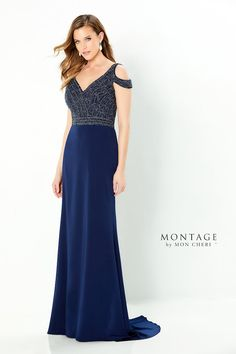 220951, navy, size 6 Blue Evening Dresses, Evening Gowns, Montage By Mon Cheri, Elegant Ball Gowns, Crepe Skirts, Illusion Dress, Tea Length Dresses, Groom Dress, Mother Of The Bride